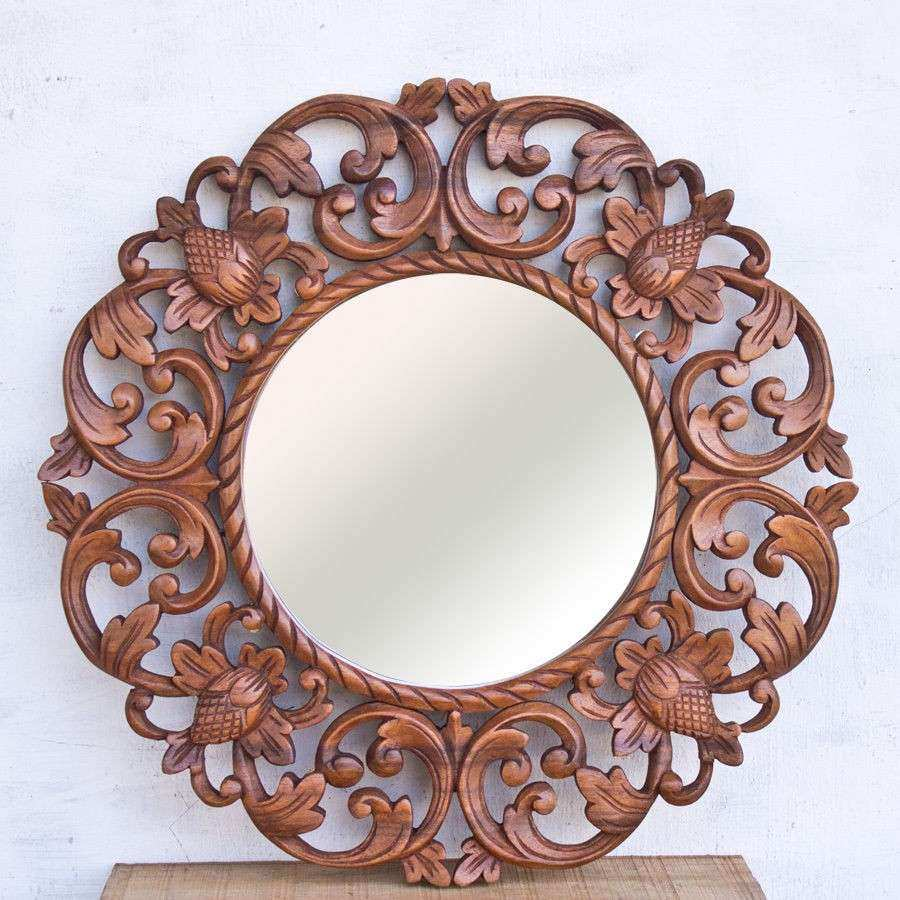 15in Round Lotus Floral Carved Suar Wood Wall Mirror Home