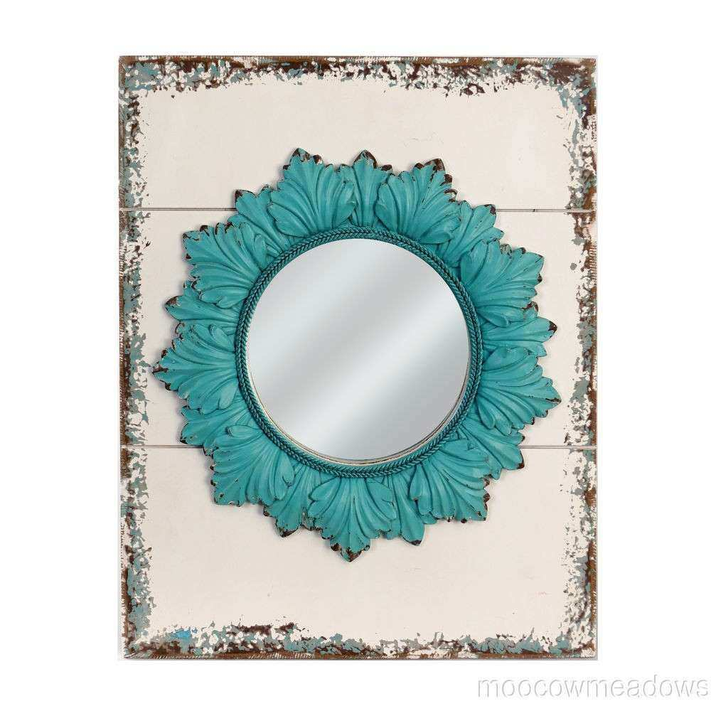 New Vintage Distressed Turquoise Wd Wall Mirror Floral