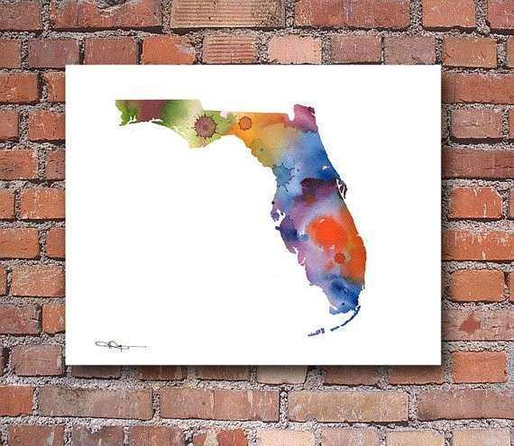 Florida Abstract Map Watercolor Art Print Wall Decor