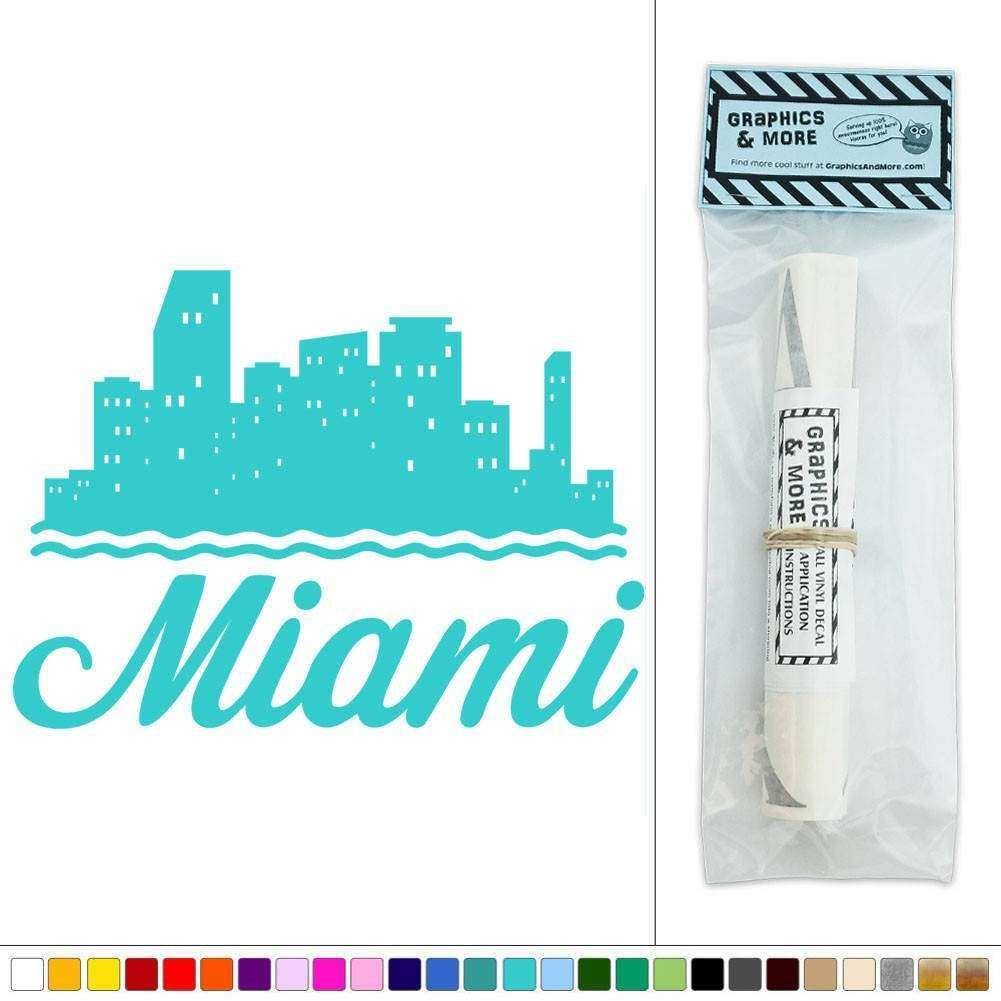 Miami City Skyline Florida Beach Vinyl Sticker Decal Wall