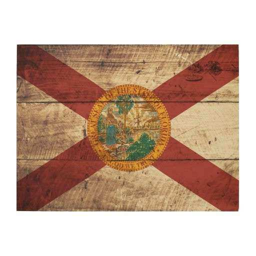 Florida Wall Art New State Flag On Old Wood Grain Decor