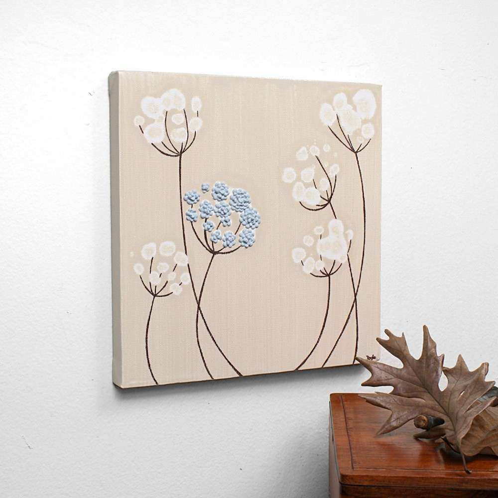 Textured Acrylic Painting Flower Canvas Art Blue and by