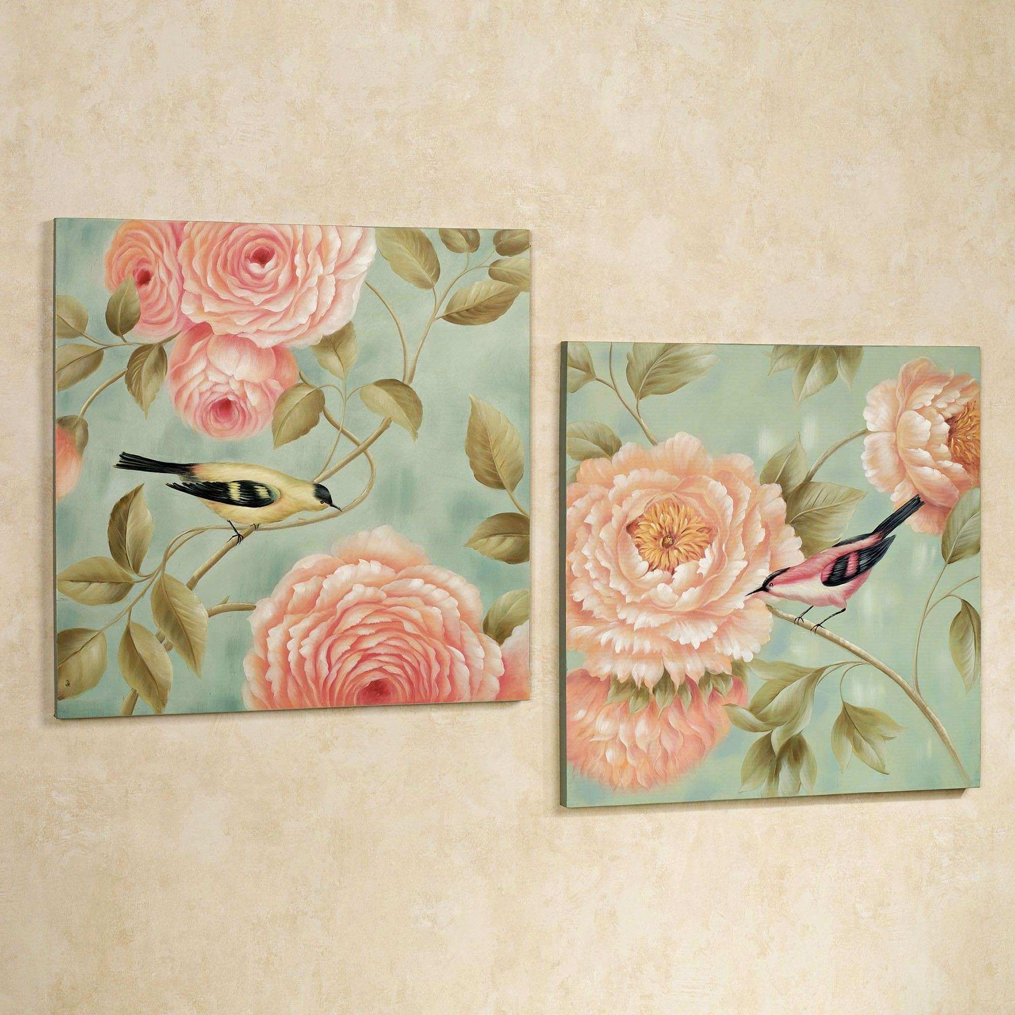 Birds Perched by Flowers Canvas Wall Art Set