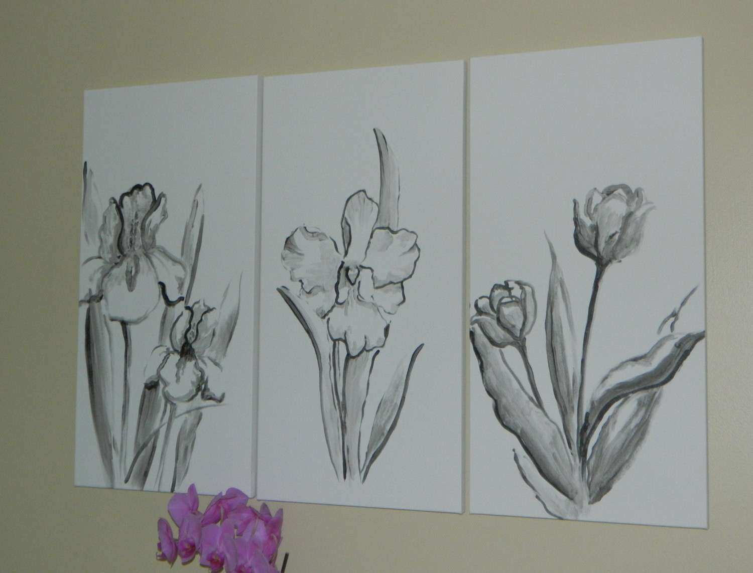 Sold 3 panel black and white flower painting floral art