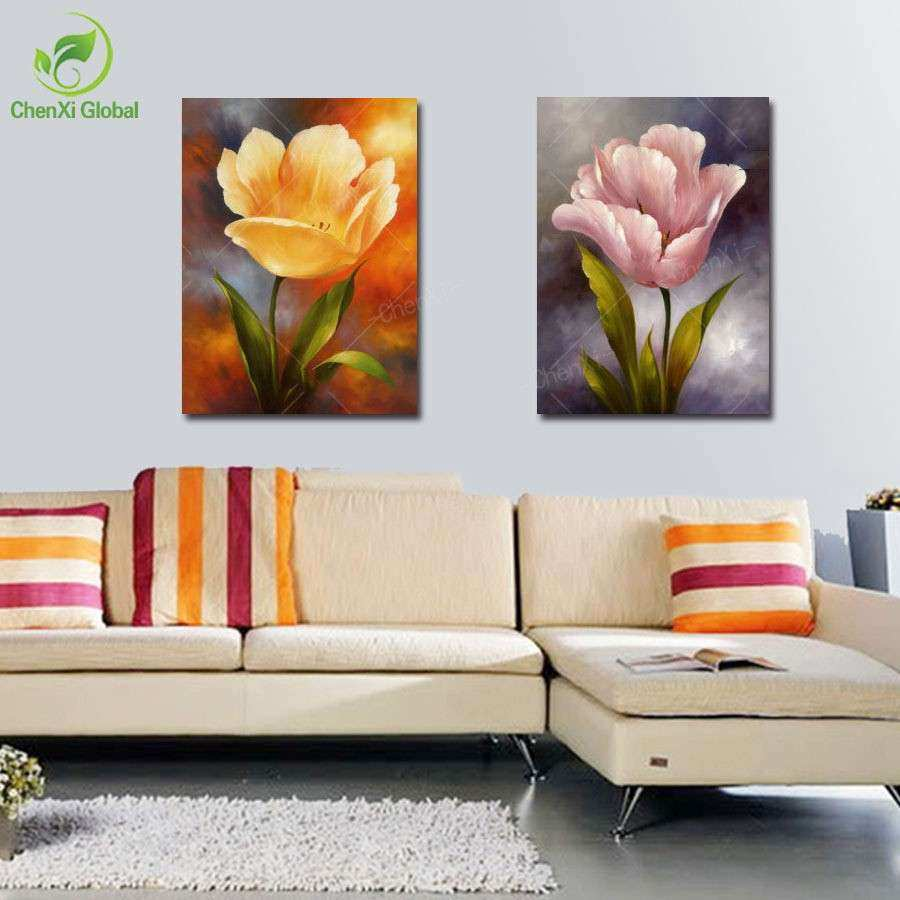 2 panels modern wall decoration painting flower painting
