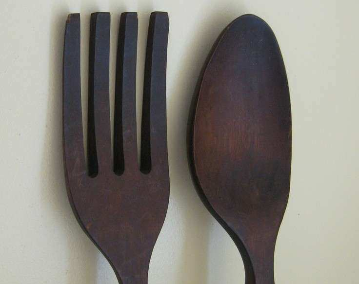Fork and Spoon Wall Decor Unique Wooden fork and Spoon Wall Decor 28 Inches Long