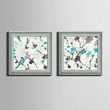 E HOME Framed Canvas Art Blue Bird And Flower Framed