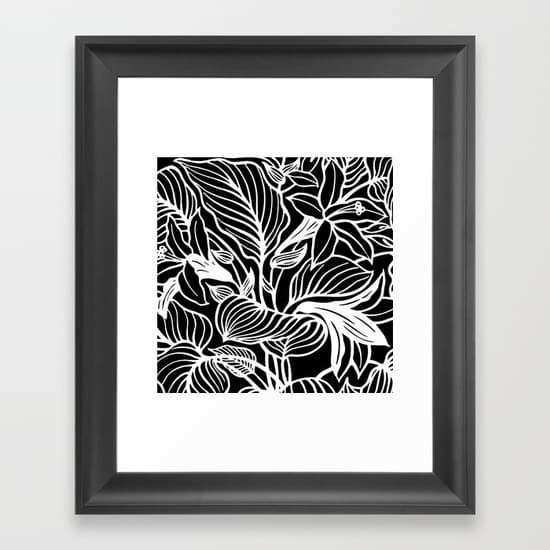 Black White Floral Framed Art Print by Beautiful Homes