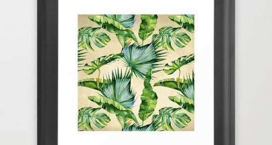 Framed Leaves Wall Art Best Of Green Tropics Leaves On Linen Framed Art Print by Simple