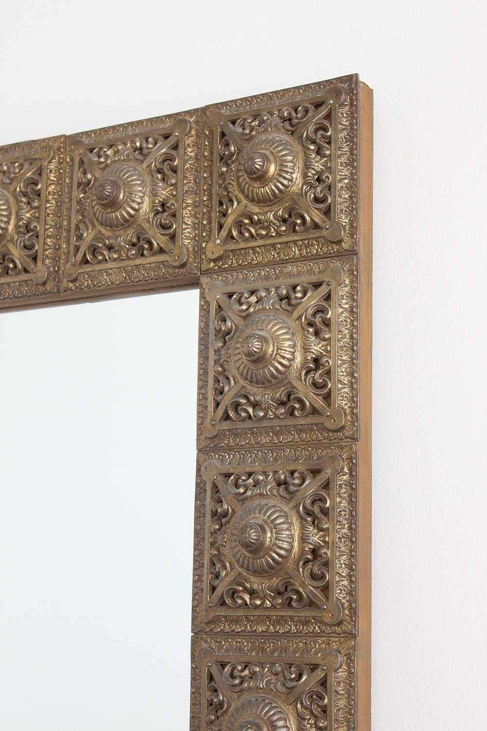 1960s Brass Medallion Framed Wall Mirror For Sale at 1stdibs