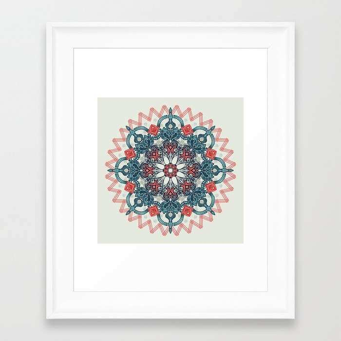 Coral & Teal Tangle Medallion Framed Art Print by Micklyn