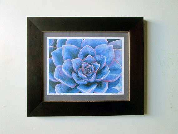 Framed print of Original Blue Succulent pastel painting Ready