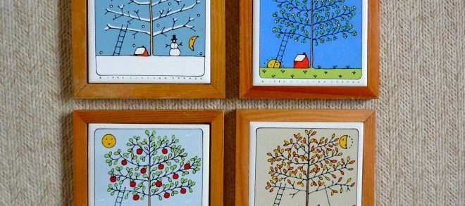 Framed Tree Wall Art Beautiful 4 Seasons Apple Tree Tiles Framed Wall Decor