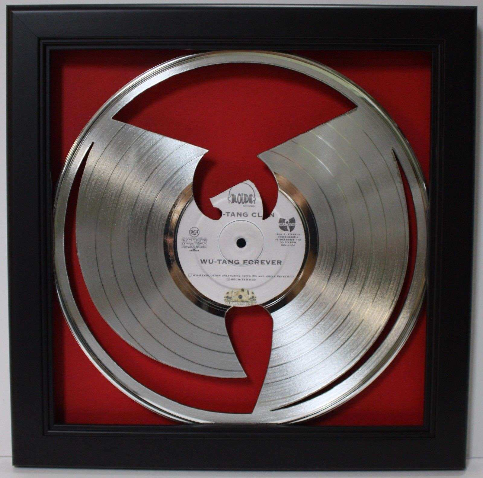 WuTang Framed Laser Cut Platinum Vinyl Record in Shadowbox