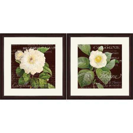 "Framed Graphic ""White Camillia"" Wall Art 18"" x 18"" Set"