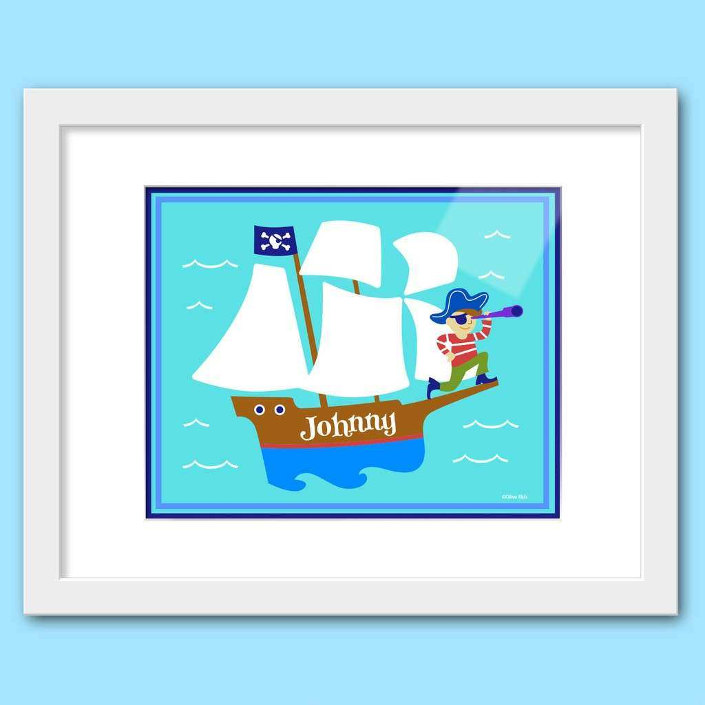 Olive Kids Pirates Personalized Framed Wall Art Set 3