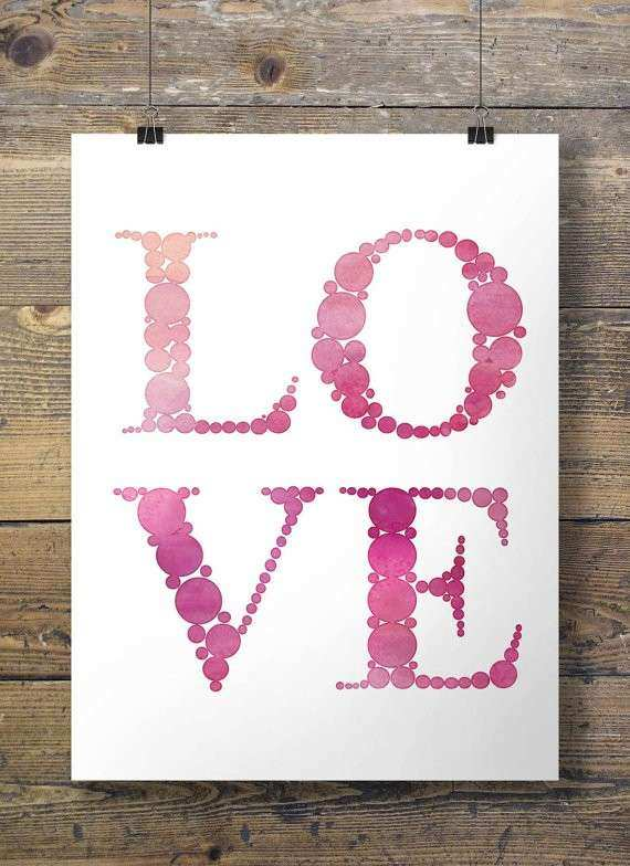 Watercolor Love Printable wall art 16x20 8x10 Instant