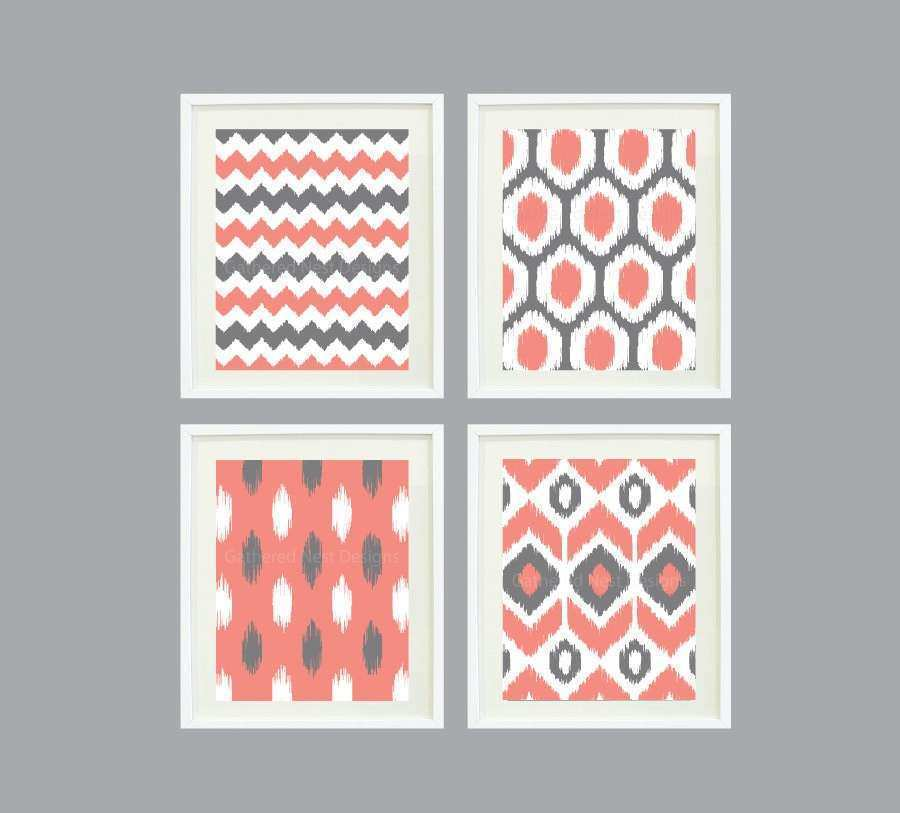 Ikat Pattern Wall Art Print Set of 4 8x10