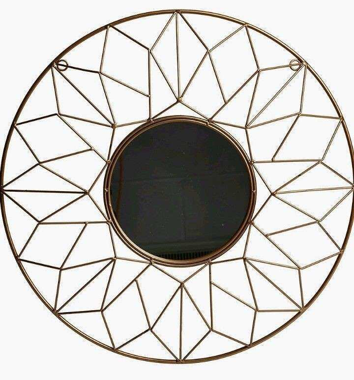 Geometric Wire Gold Metal Round Wall Mirror Moroccan Wall