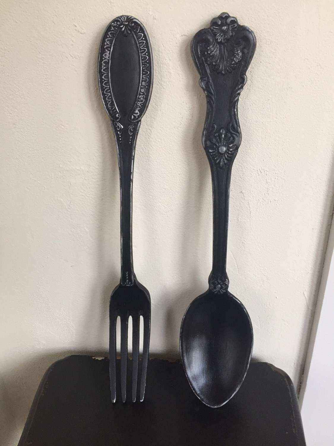 Giant Spoon and fork Wall Decor New fork and Spoon Large Wall Decor Distressed Shabby Chic Black