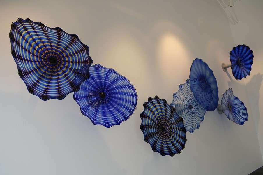 Blue murano glass plates for wall art decoration