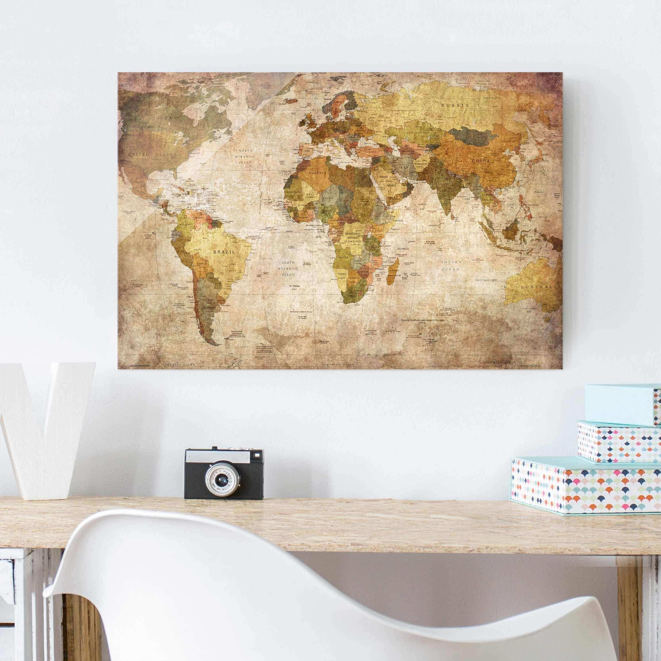 Glass Print Wall Art Awesome Glass Print World Map Glass Wall Art Landscape format 2 3