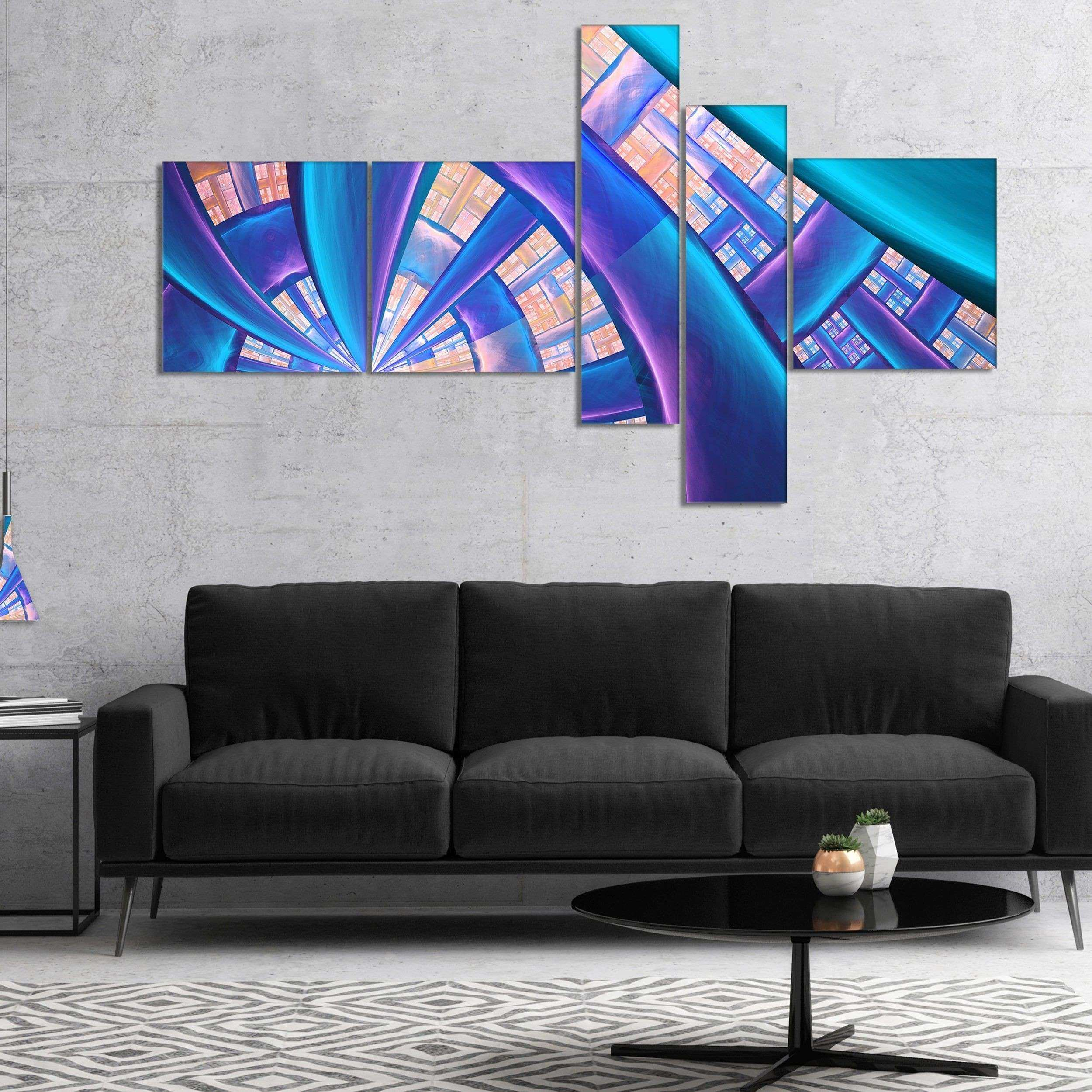 Designart Blue Fractal Stained Glass Abstract Canvas Art Print