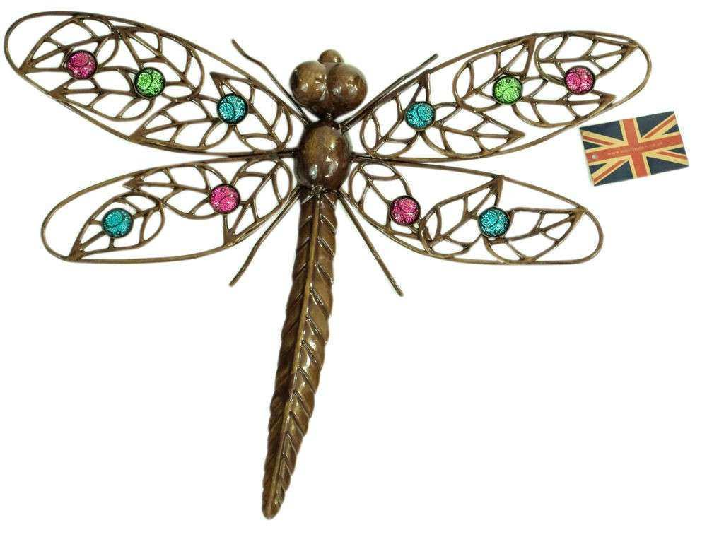 Dark Metal Wall Art Hanging Dragonfly with Multicoloured