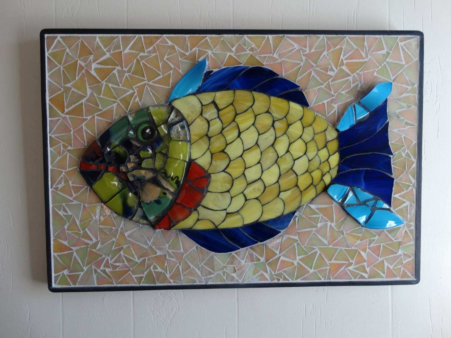 Glass Wall Art and Decor Inspirational Mosaic Fish Colorful Fused and Stained Glass Wall Art original