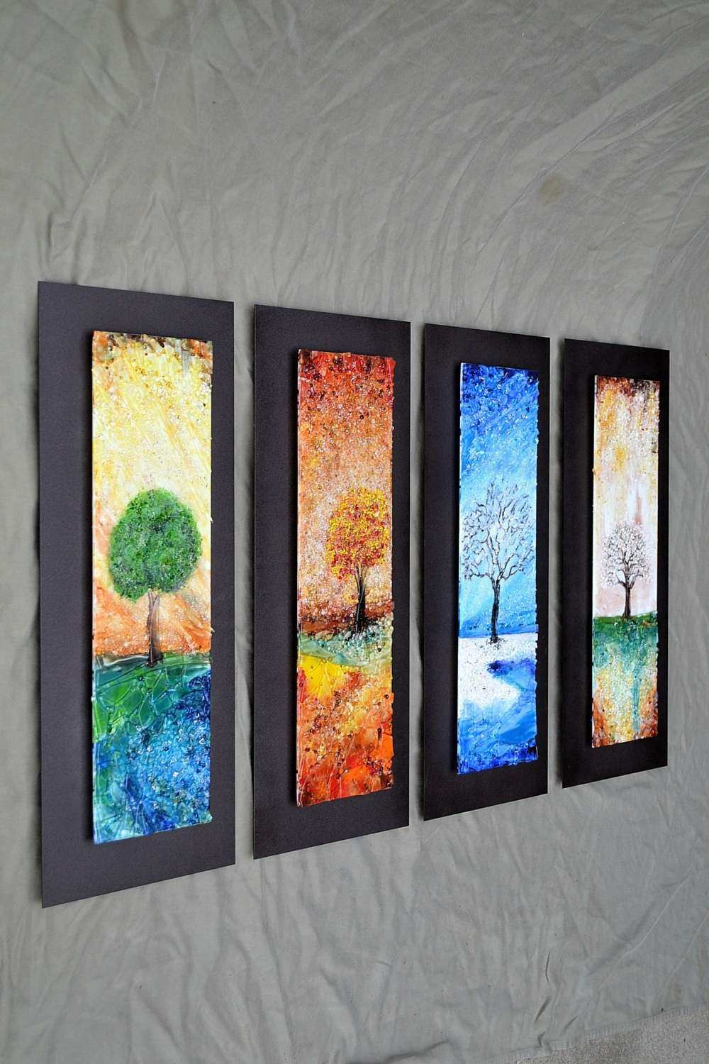 The Four Seasons Fused Glass Wall Art with Textured by