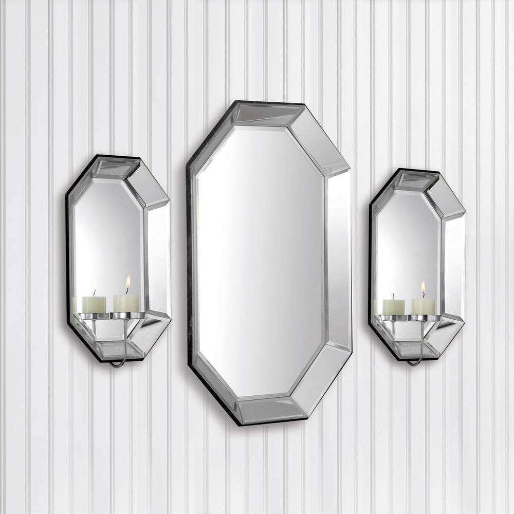 Allure by Jay 3 pc Beveled Glass Wall Mirror & Candle
