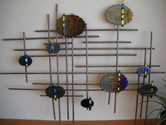 Fused glass and metal wall art Abstract Glass Art Lines and