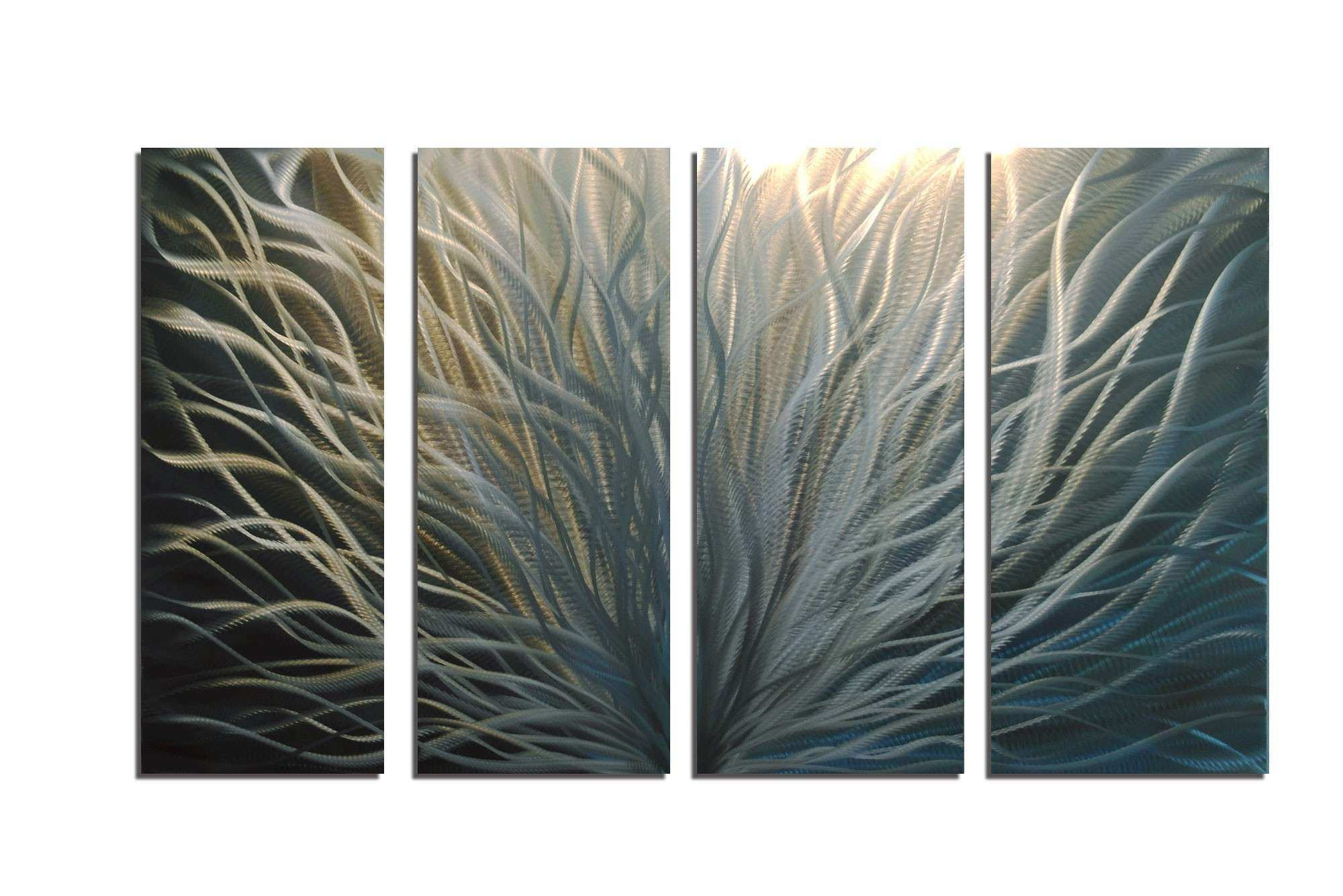 Radiance Silver and Gold 36x63 Abstract Metal Wall Art