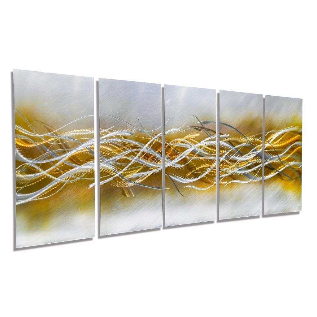Modern Contemporary Silver Gold Hand Etched Metal Wall Art