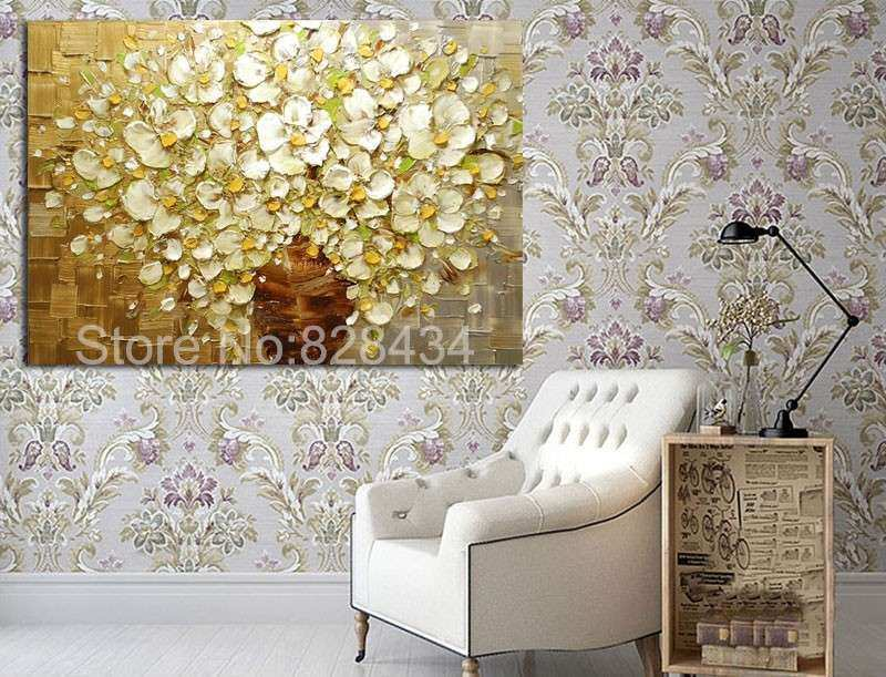 100 Hand Painted Wall Art Abstract Painting Gold And