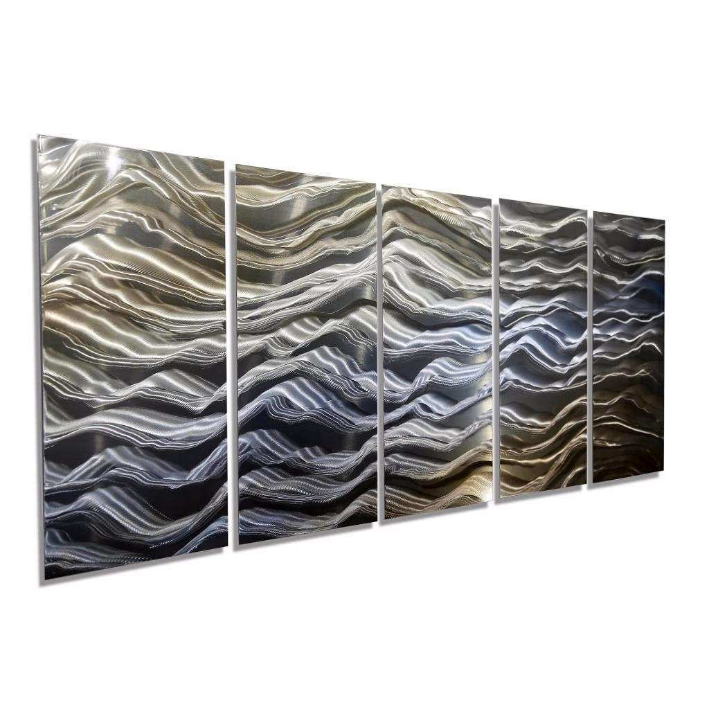 Contemporary Abstract Gold Blue Silver Painted Metal Wall