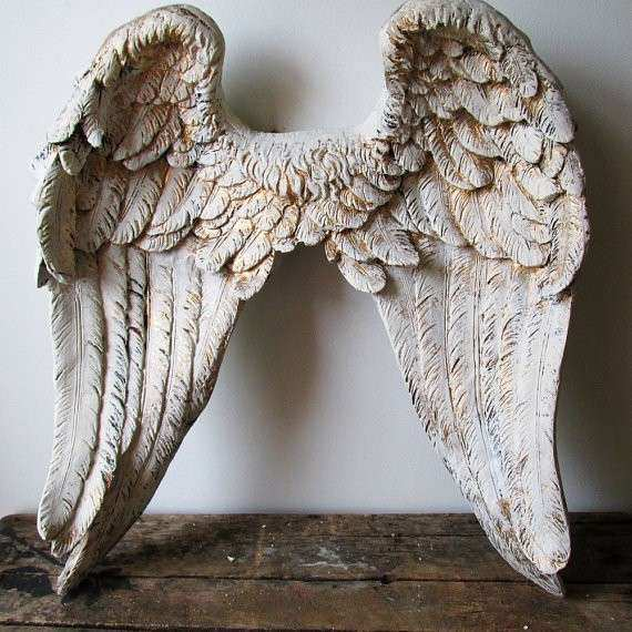 Gold Angel Wings Wall Decor Elegant Sculpture Hand Painted Cream White