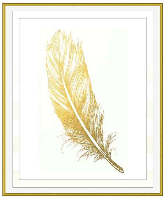 Gold Foil Wall Art Awesome Faux Gold Leaf Feather Wall Art Gold Art ...