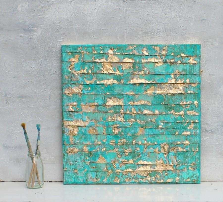 Abstract Painting Turquoise Gold Art Gold Leaf
