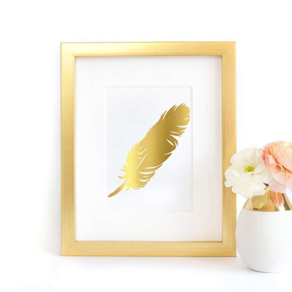 Feather Gold Rose Gold Silver Foil Print Wall Art