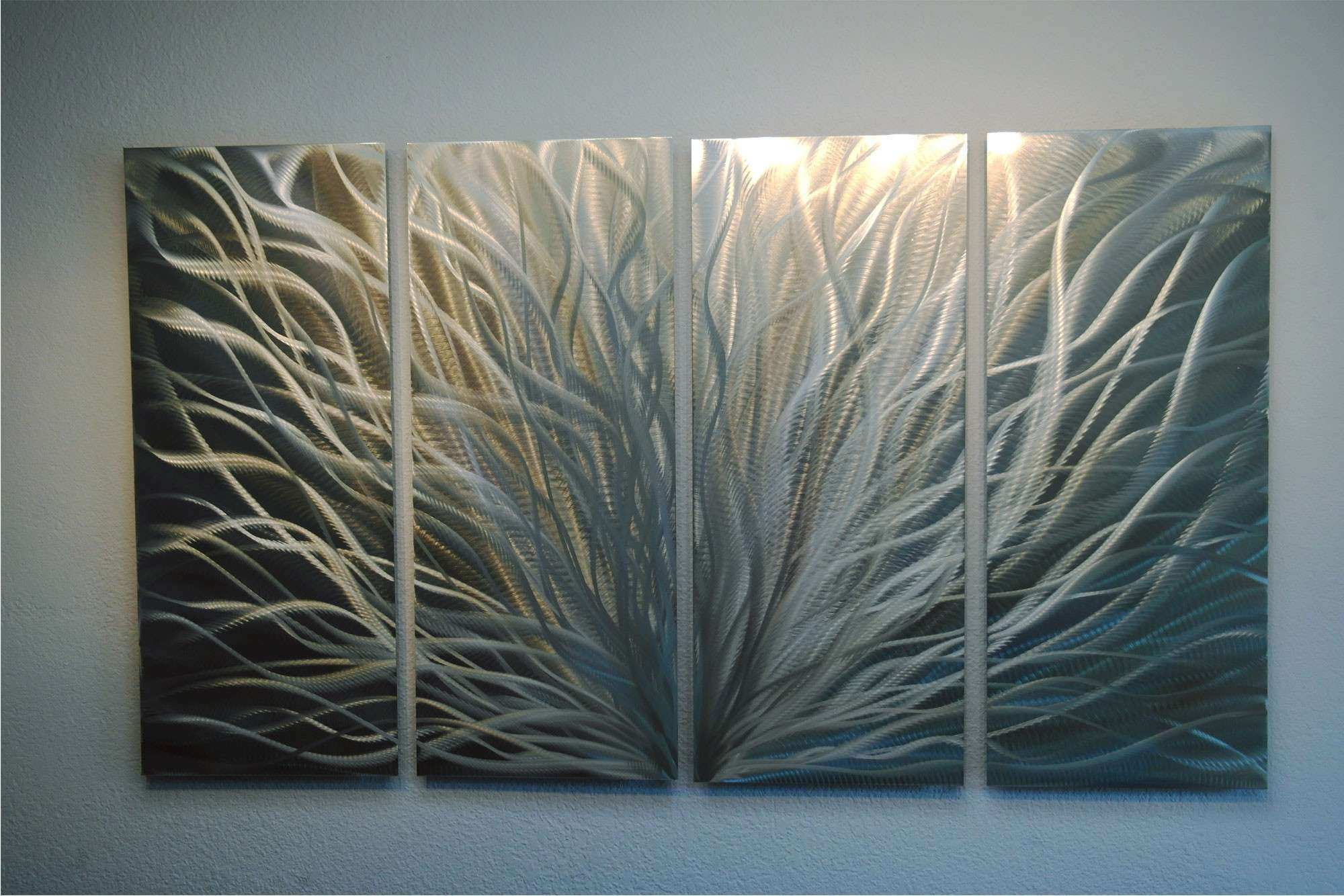 Radiance Silver and Gold 36x63 Abstract Metal Wall Art Contemporary Modern Decor · Inspiring