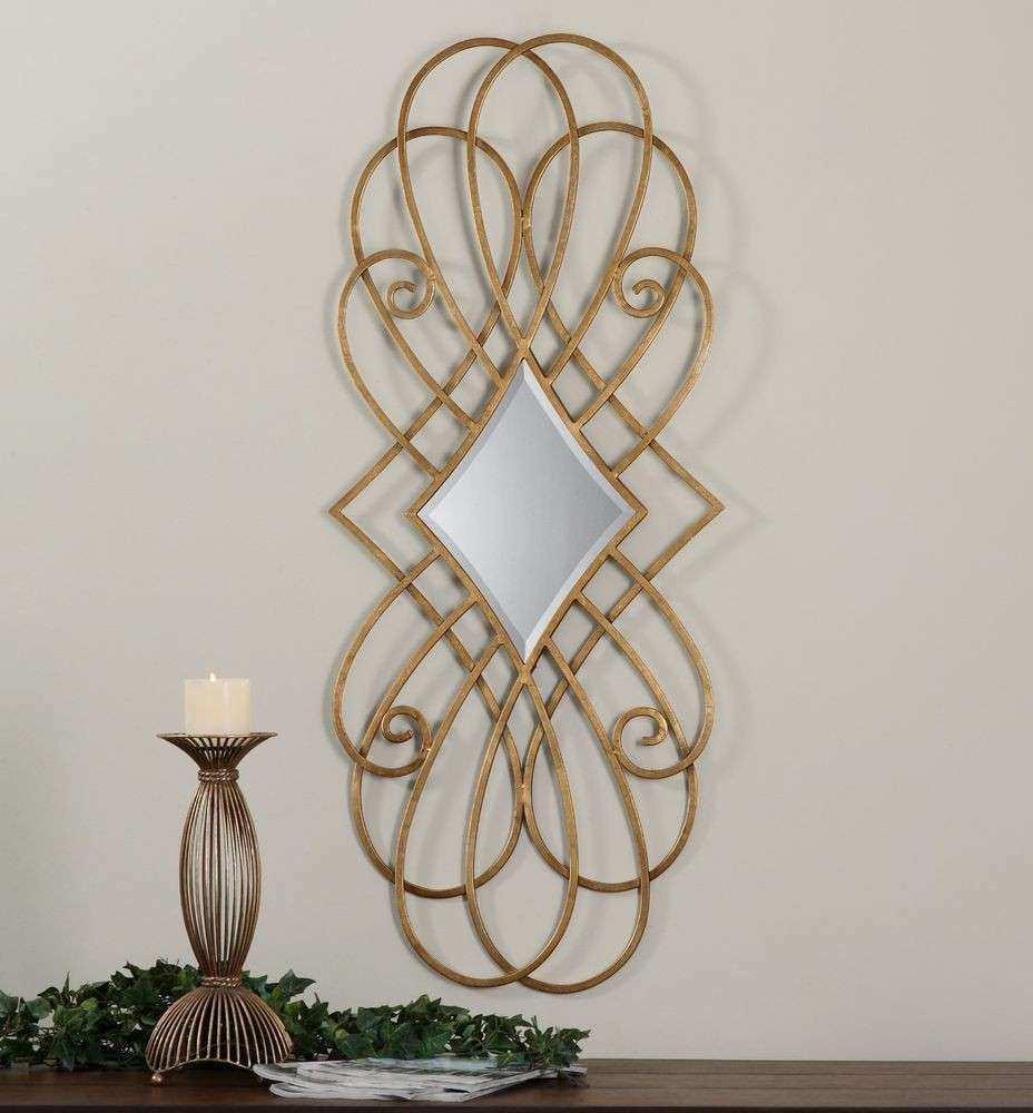 """LARGE 46"""" ANTIQUED GOLD LEAF WALL ART MIRROR CURVED METAL FRAME CONTEMPORARY"""