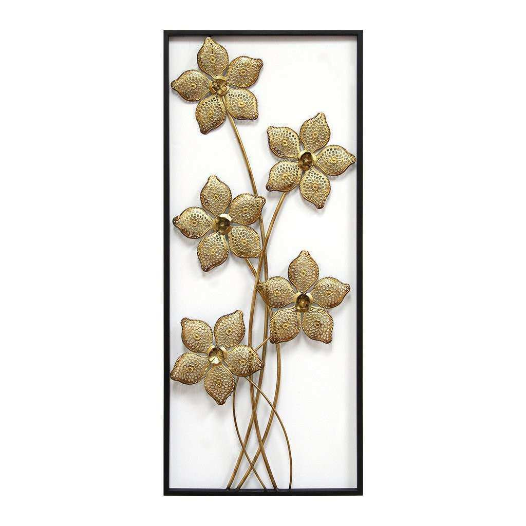 Gold Lattice Flower Panel – Stratton Home Decor
