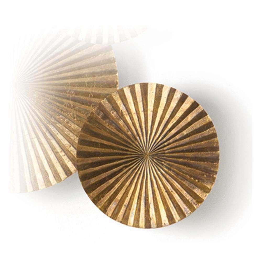 Apollo Metal Wood Crimped Gold Wall Plaque Disc 12 Inch