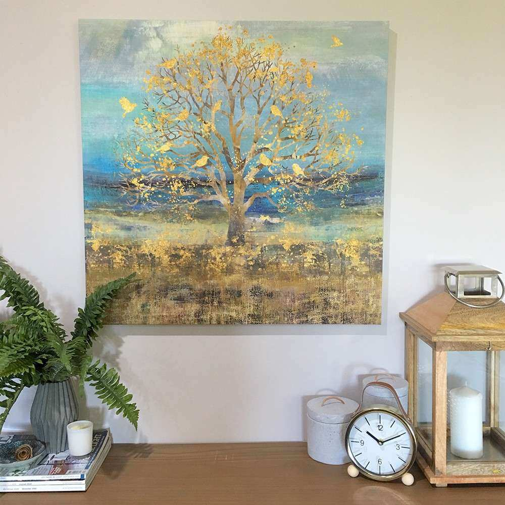 70cm Gold Tree Canvas Ready To Hang Wall Art Panel Square