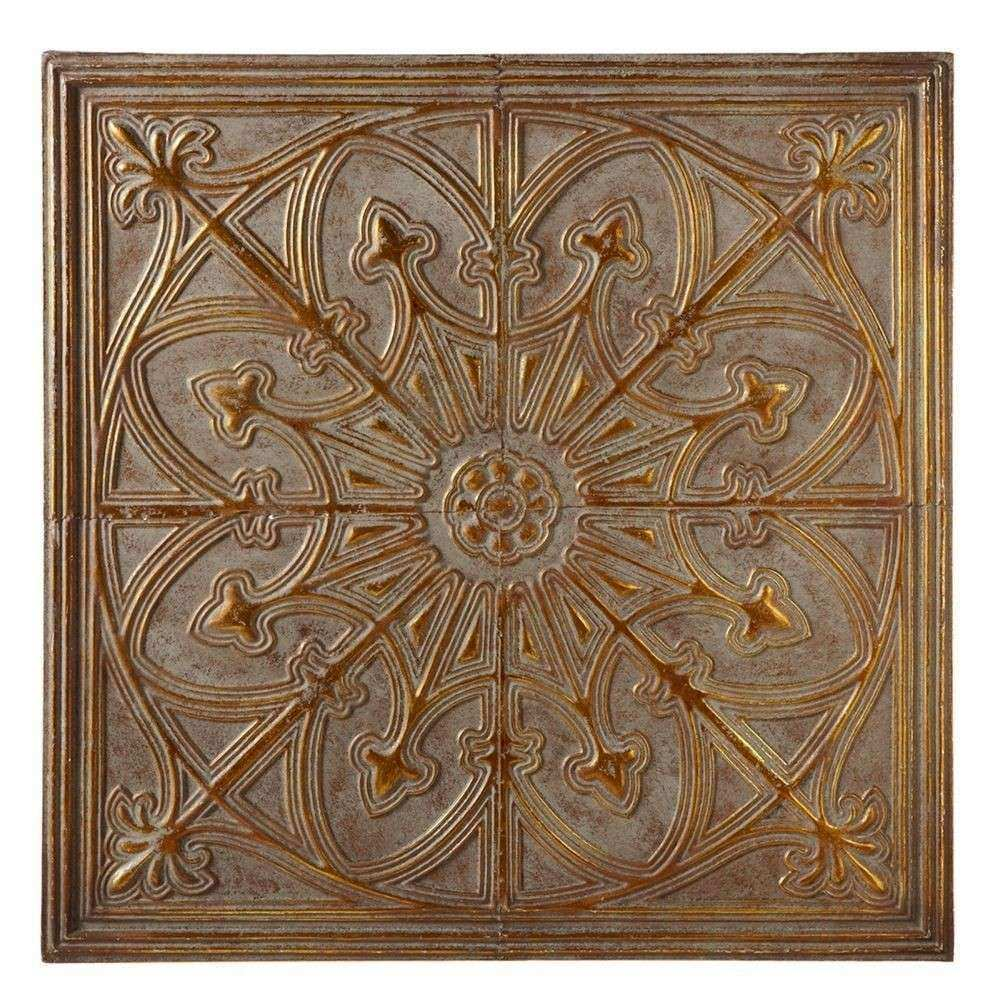 Antique Grey & Gold Medallion Metal Wall Sculpture Square