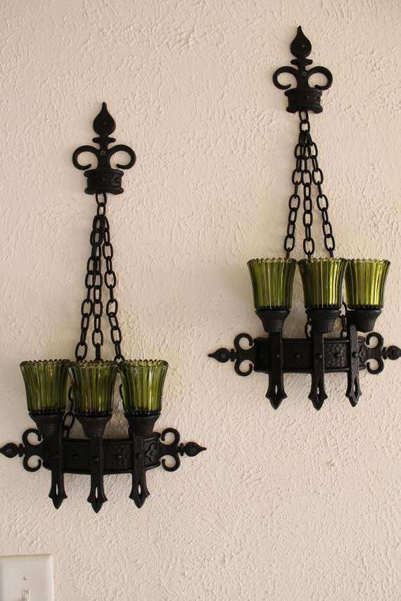 Candle Holder Vintage Set Glass Pillar Wall by OldWorldCharmMe