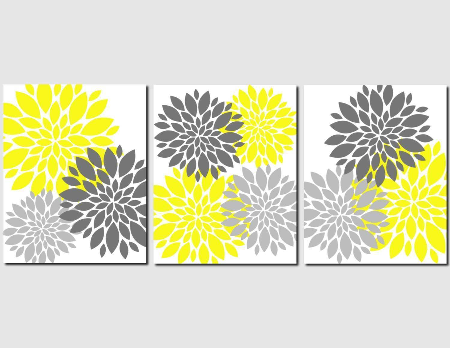 Yellow Gray Wall Art Home Decor Flower Burst Floral by