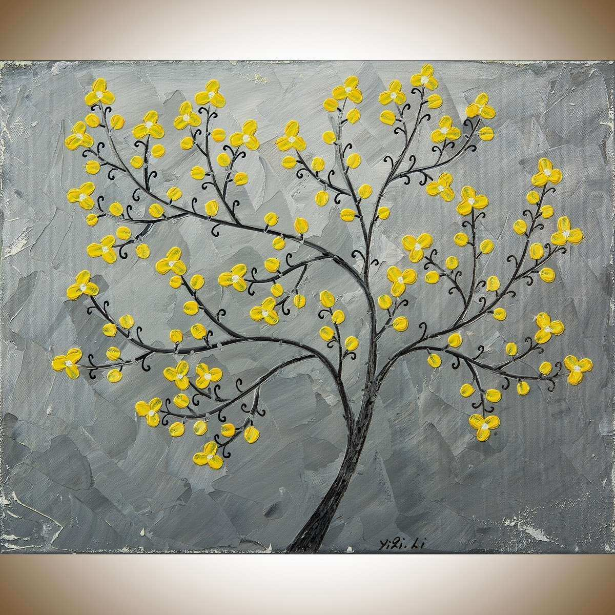 """Gray and Yellow Wall Decor Awesome Yellow Blossoms by Qiqigallery 16"""" X 20"""" Painting original"""