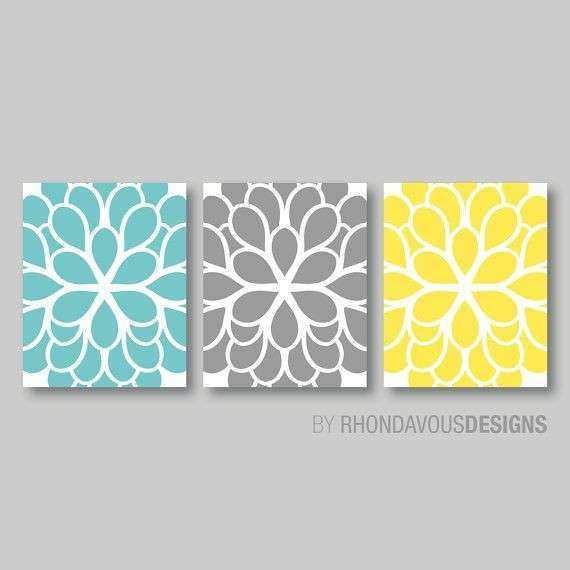 Gray and Yellow Wall Decor Beautiful Flower Wall Art Teal Blue Yellow Gray Dahlia Flower